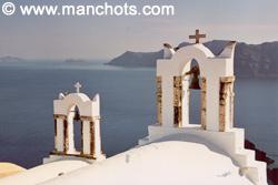 Clochers, Oia - île Santorin (Grèce)