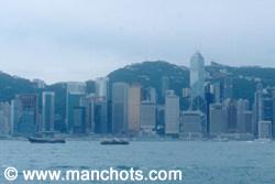 Vue sur l'île de Hong Kong depuis Kowloon